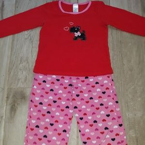 Girls pink and red flannel pajamas